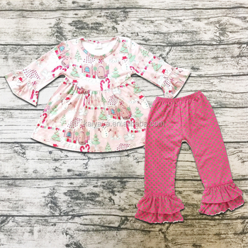 Pink Short Sleeve Tops With Cartoon Pattern Pants Summer Baby Girls Clothing Baby Boutique Suit