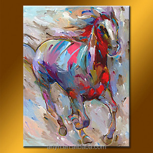 Colorful horse wholesale wall art oil painting for decor