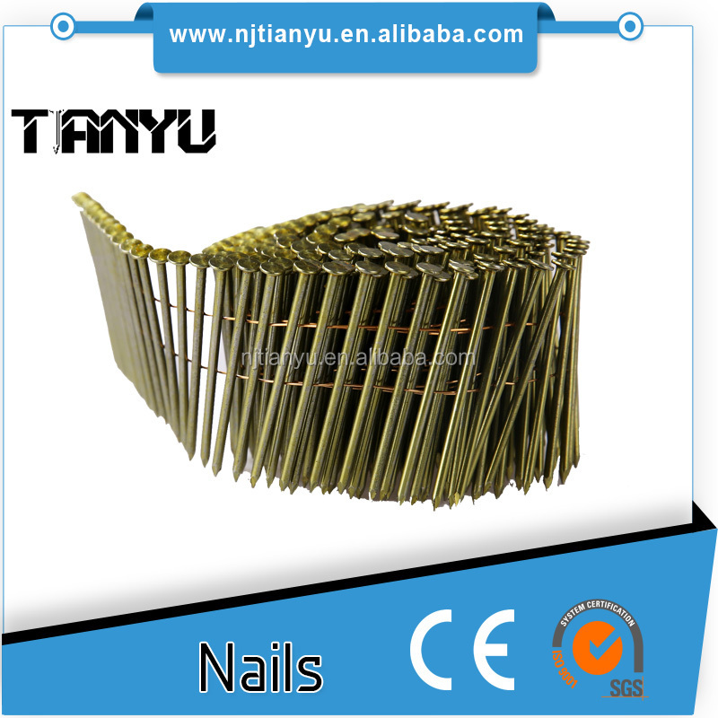 15/ 16degree wire coil nails flat head, wire collated nails , pallet nails