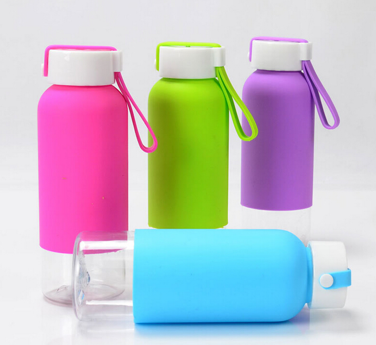 small plastic water <strong>bottle</strong> with silicone sleeve