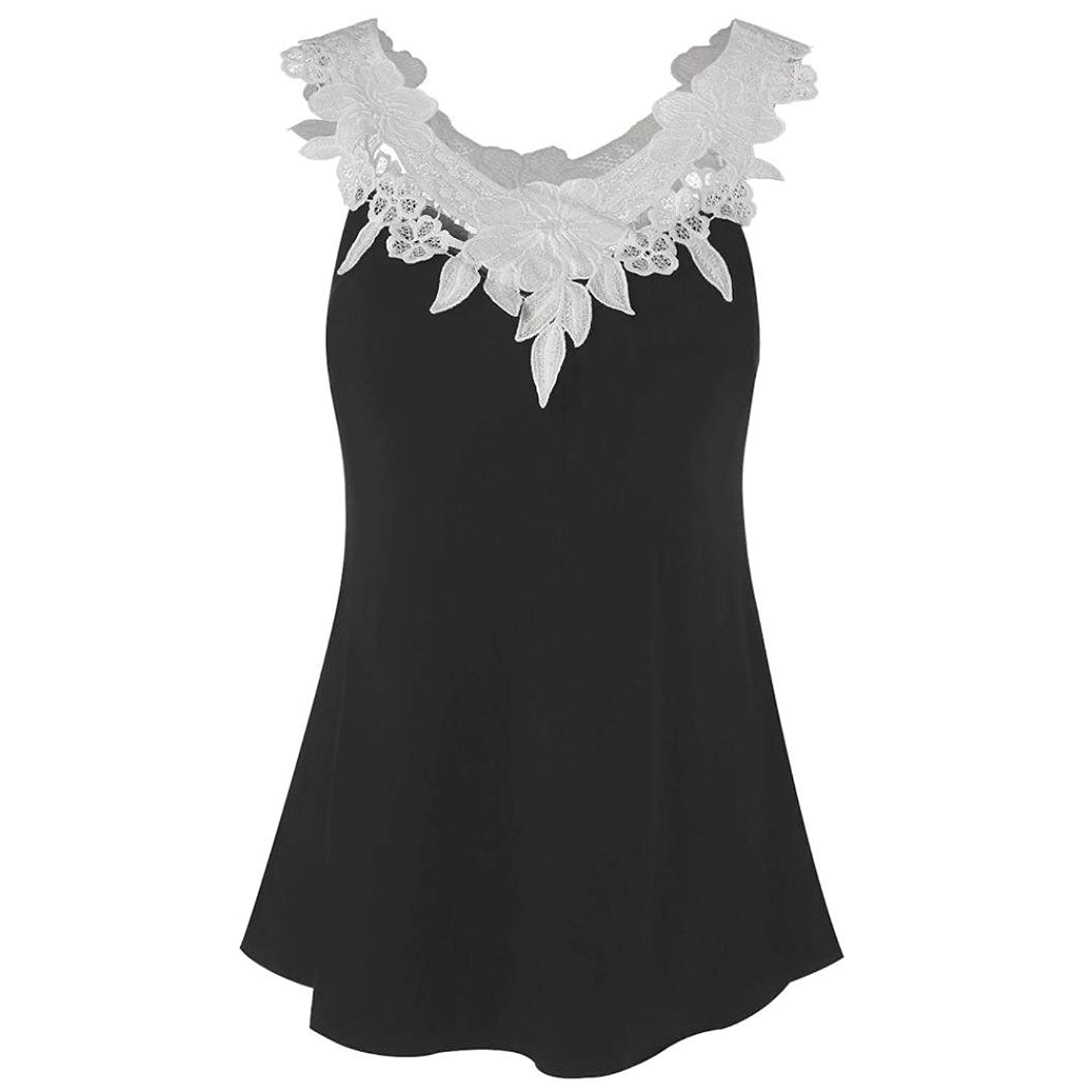 Siaokim Tops For Women Hot Sale Women Tank Tops Fashion Solid Lace Stitching Sleeveless Hollow Out Casual Tunic Blouse