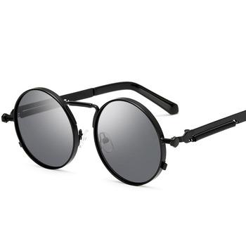 6f65329be Vintage Round Steampunk Sunglasses Women Men Fashion Retro Circle Metal da Steam  Punk Sunglasses Men Gold
