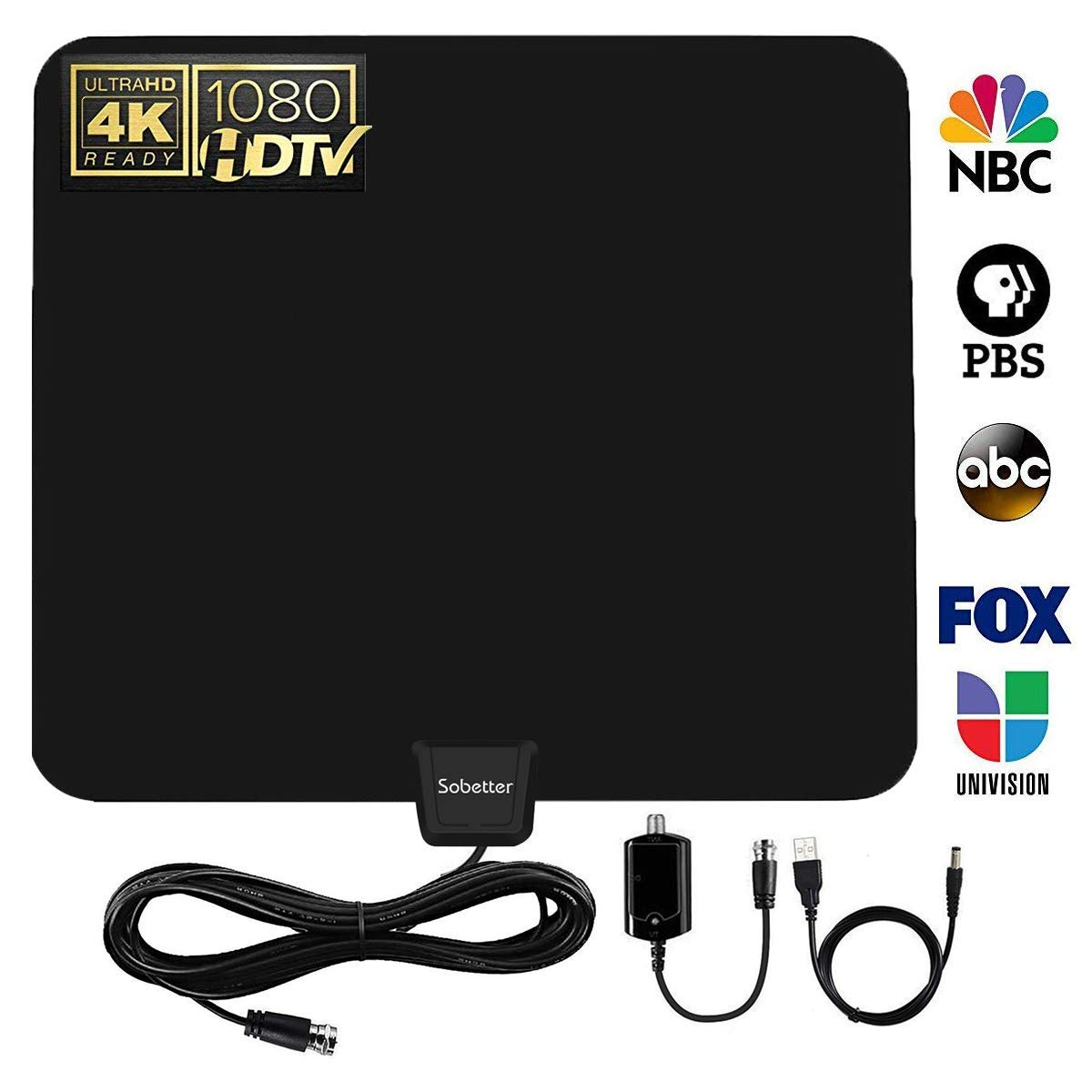 Upgraded 2018 Version HD Digital TV Antenna - Sobetter Best 65 Miles Long Range High-Definition with HDTV Amplifier Signal Booster Indoor - Amplified 13.3ft Coax Cable - Support All TV's - 1080p 4K R