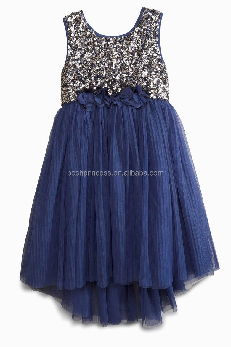 Navy Blue Girls Sequins Latest Party Dress Designs - Buy Latest ...