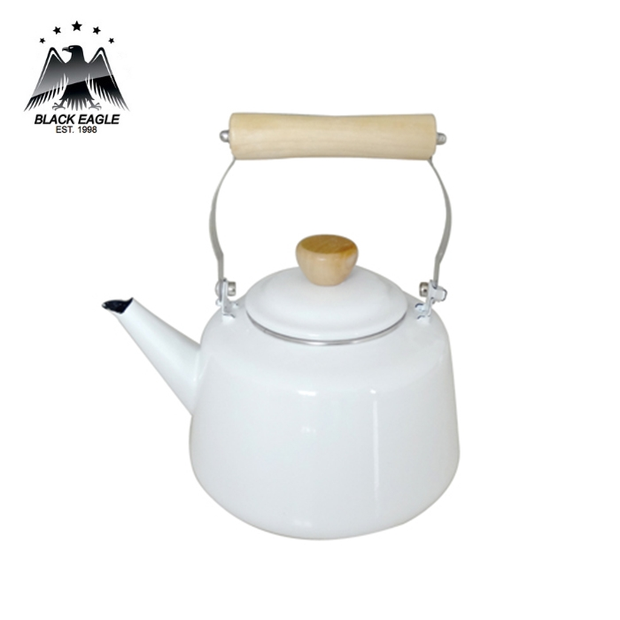 Factory direct cast iron enamel tea kettle with wooden handle