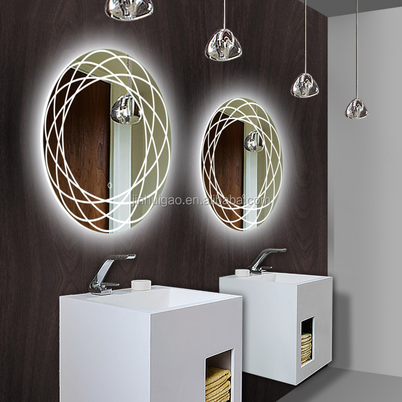 frameless quality light up modern wall circular bathroom mirror with led design with double round matting designs