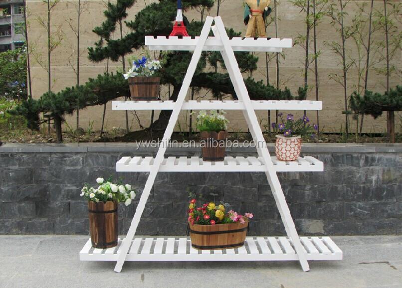 Wood Flower Stand Designs : 三角形の木製の花が立っている木製 フラワースタンド鉢 木製の花のバケットスタンド 木製フラワーの販売を意味します