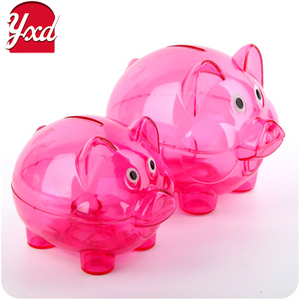 High quality colorful glass acrylic wholesale plastic piggy bank