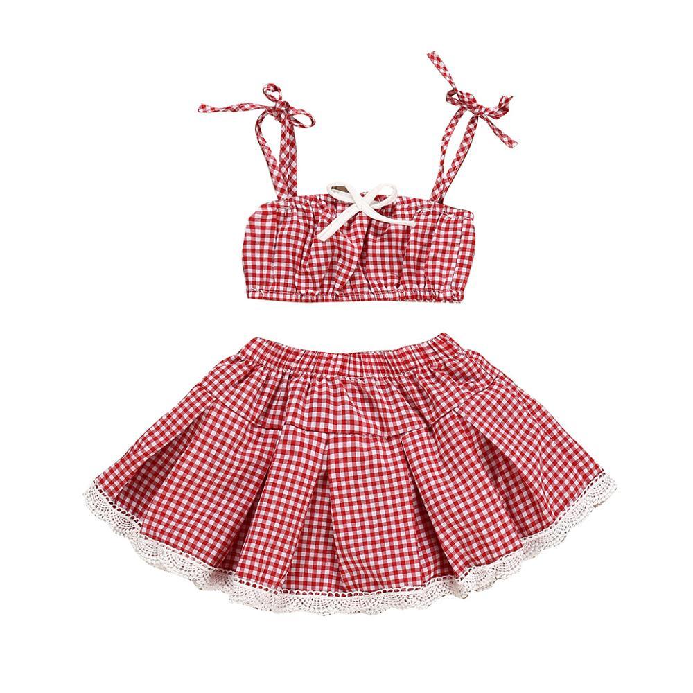 8926b32c9 2019 primavera y verano playa viento chica conjunto de ropa de algodón bebé  niñas cuadros de
