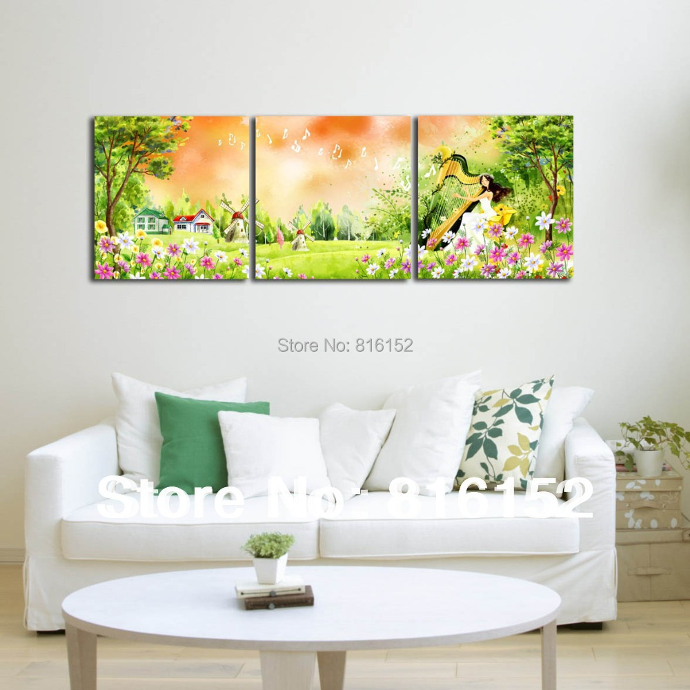 forest harp fairy multi panel paintings wall art canvas print oil painting for kids bedroom. Black Bedroom Furniture Sets. Home Design Ideas