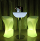 Factory price steel base Illuminated led lighted up furniture/light up table with steel base