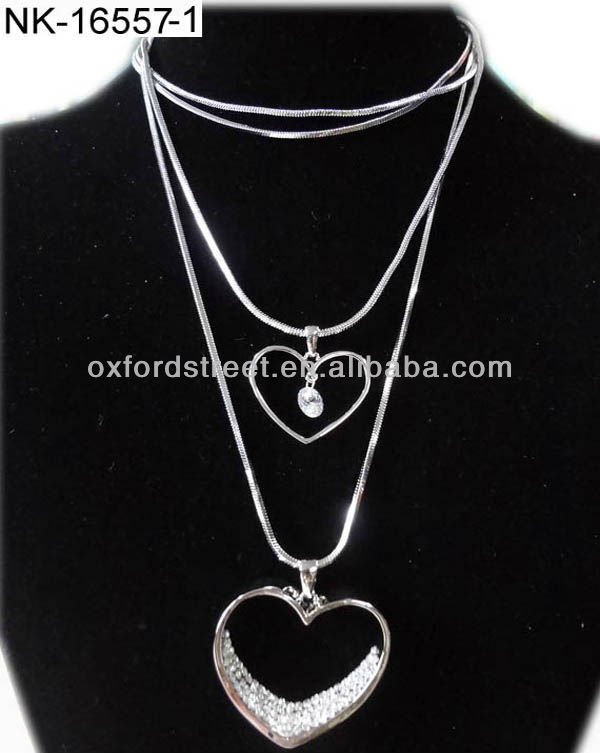 New arrive long skinny chain layered necklace with double love heart pandent NK-16557-1