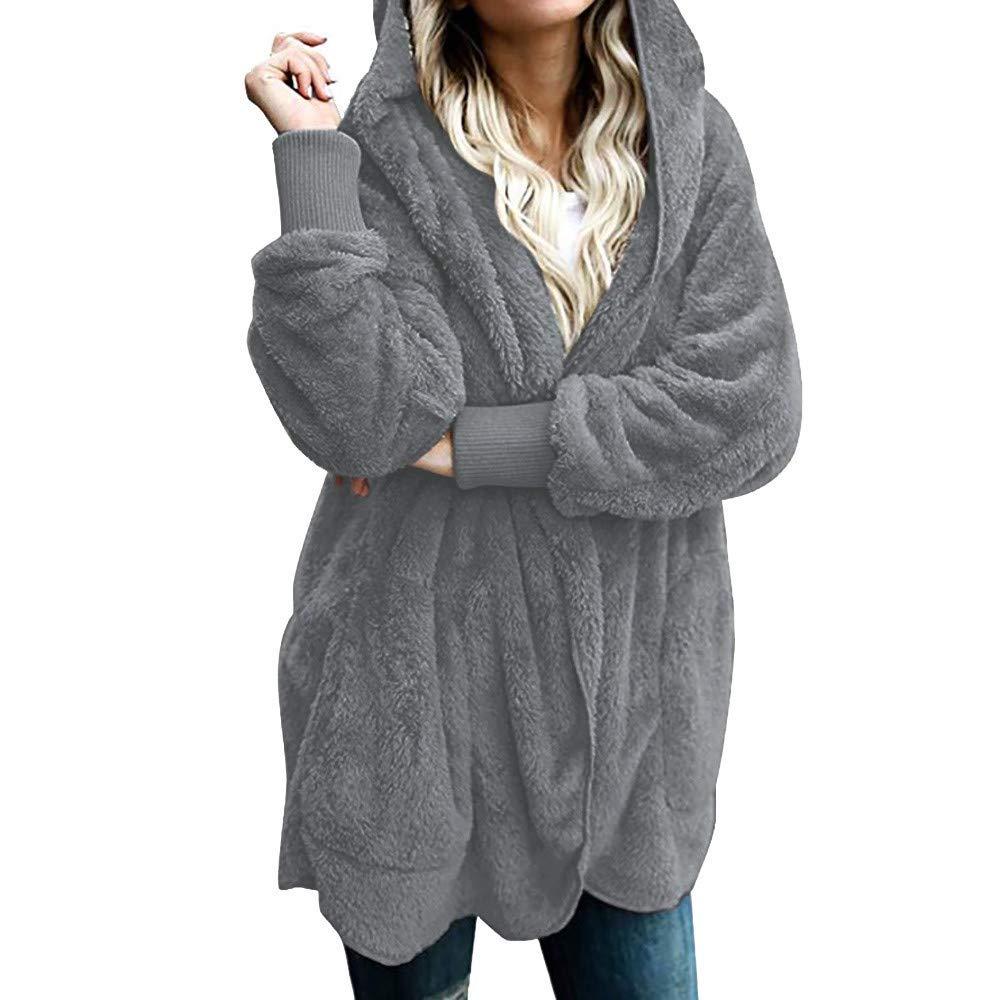 Amiley Clearance!! Women Winter Oversized Cardigan Coat Faux Fur Draped Pockets Hooded Jacket Warm Coat