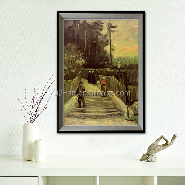 Schuine Wand Decoratie.Meesterwerk Kunst Schilderij Montmartre In Schuine Pad Van Van Gogh