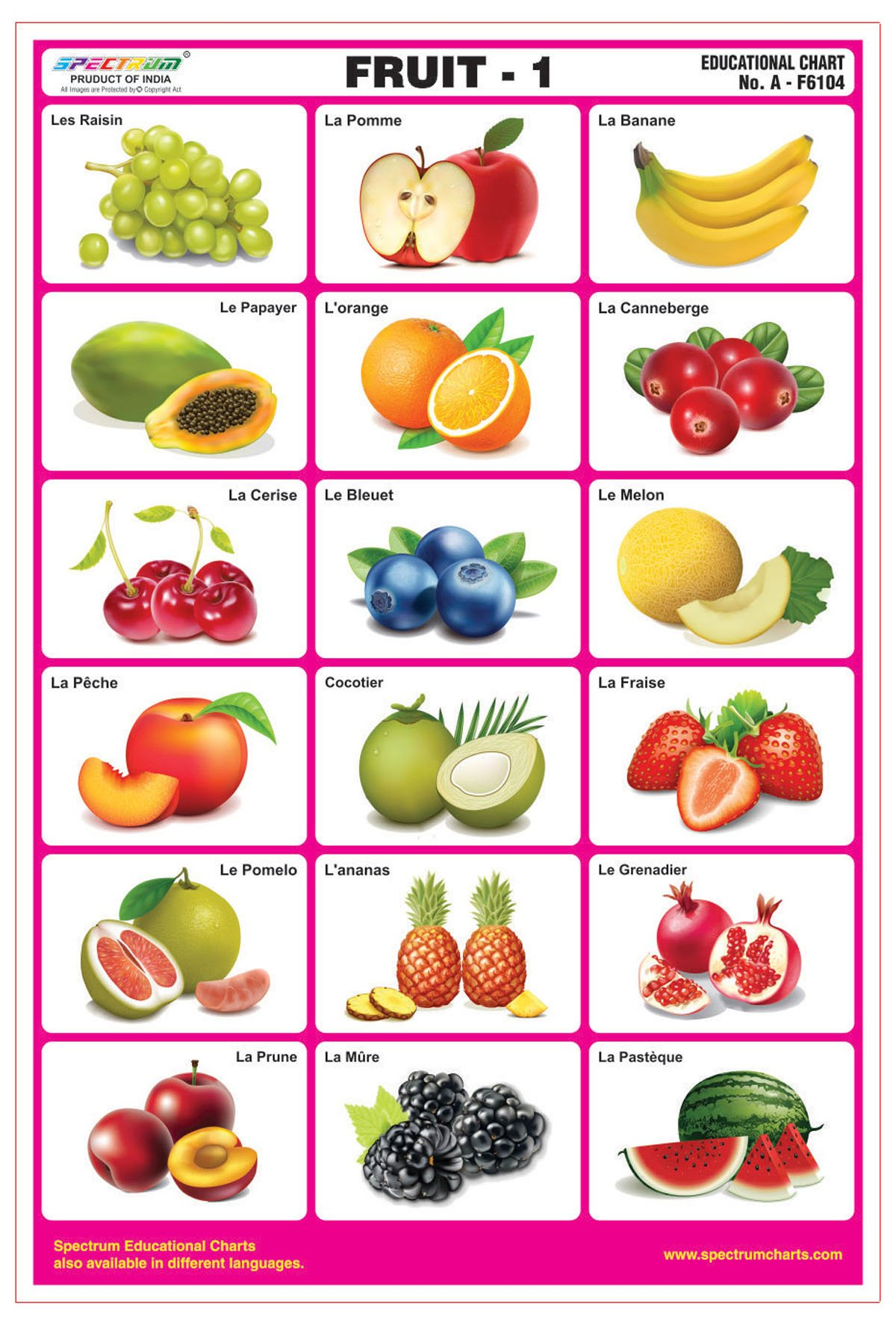 Get Quotations Spectrum French Language Fruits 1 Laminated Pre Primary Kids Learning Wall Chart