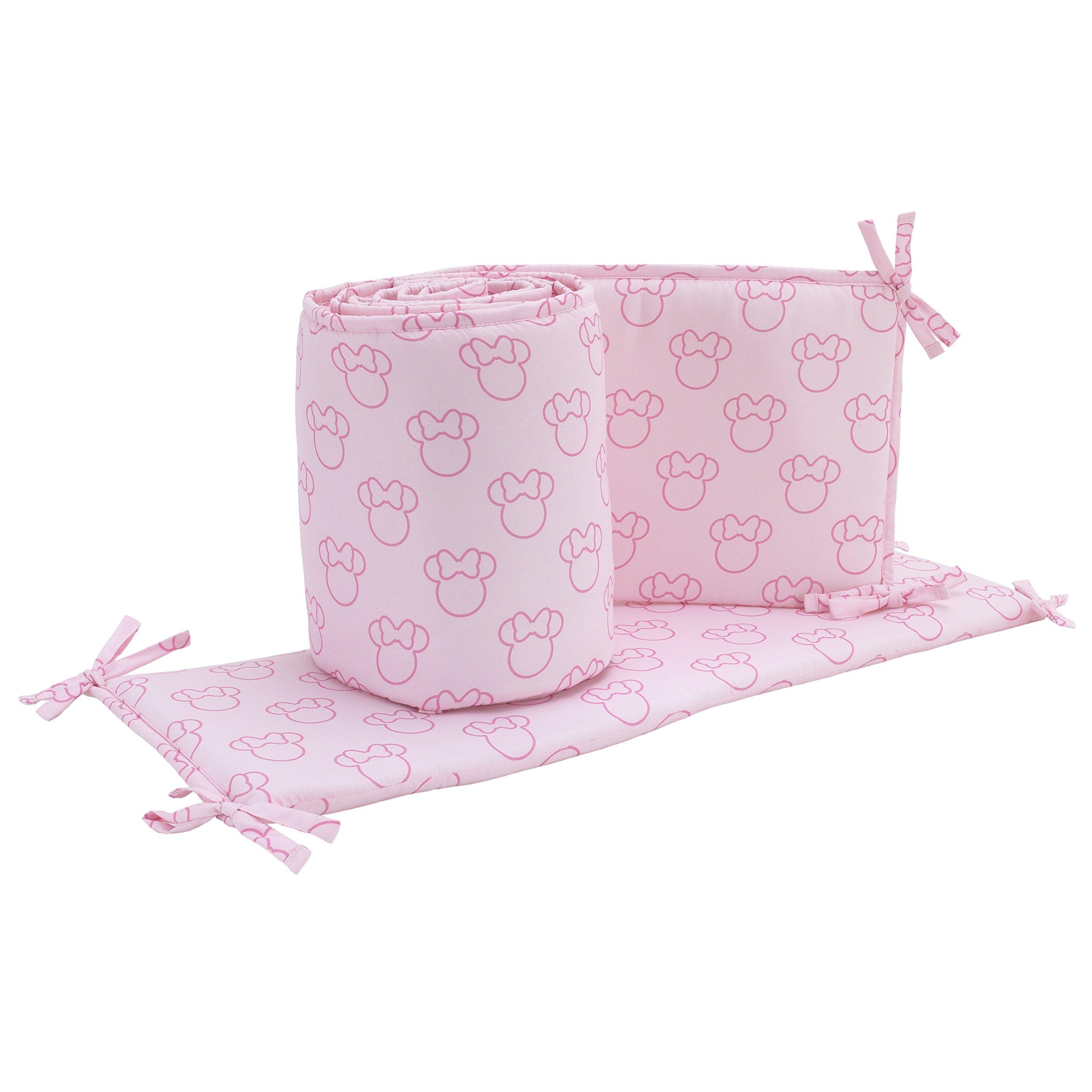 Disney Minnie Mouse Icon 4 Piece Nursery Crib Bumper, Pink, Dark Pink