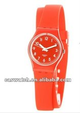 Red plastic watch with silicone wrap band hot sales in 2012!!!