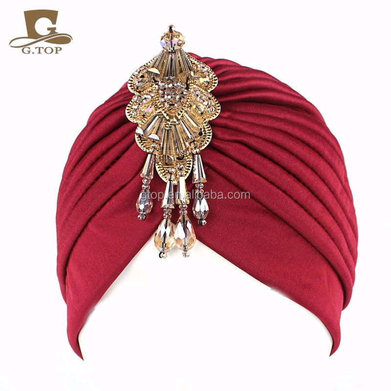NEW Women turban Hat Head wrap with the beaded pendant