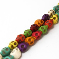 Wholesale 8*9mm Howlite Skull Human skeleton Beads Synthetise Stone Beads Dyed 15'' For DIY Bracelet DH-BTB006