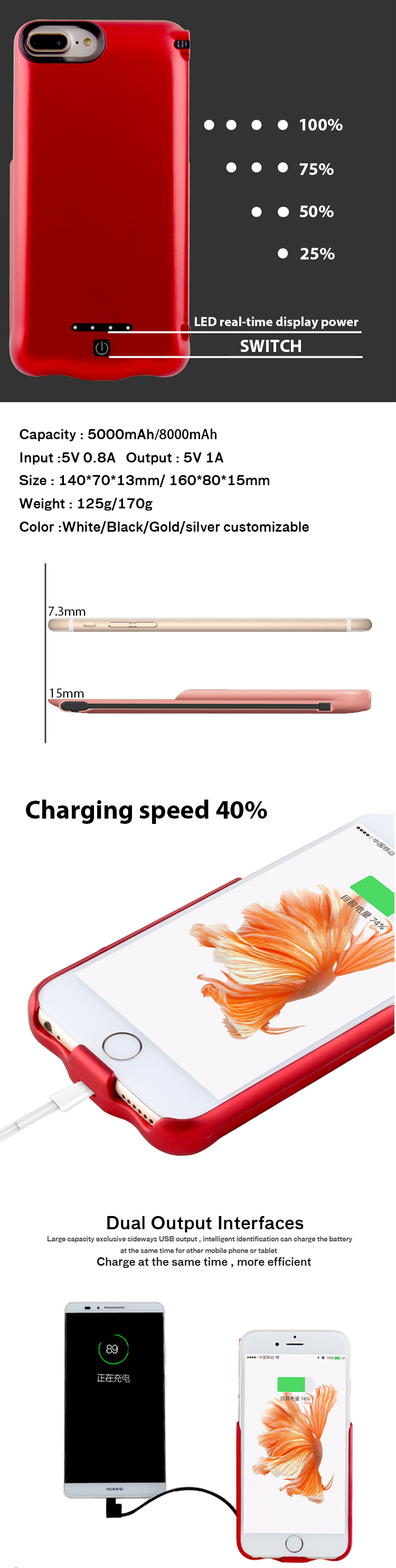 Custome made powerbank case for iphone with stand mini 5000mAh/8000mAh battery power bank case