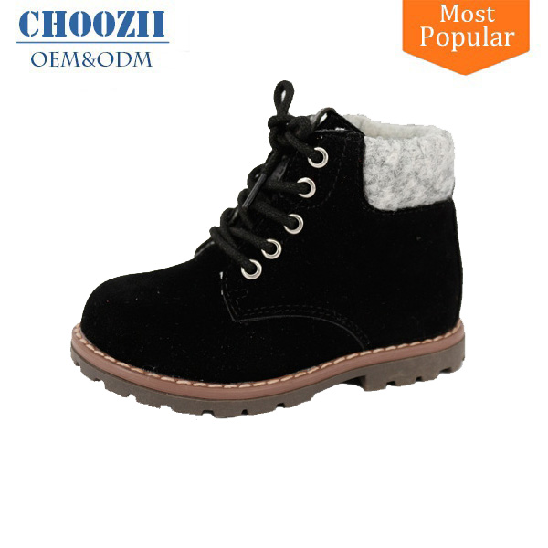 Black Lace-up Kids Boys Toddler Ankle Leather Boots Cowboy Safety Boots Shoes
