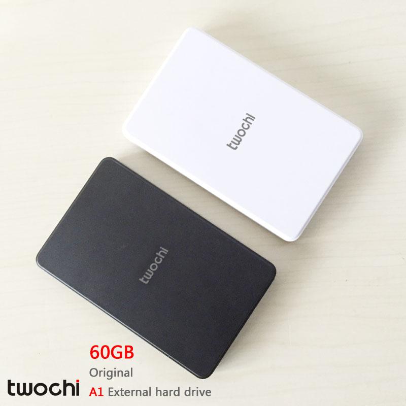 Free shipping New Styles TWOCHI A1 Original 2 5 External Hard Drive 60GB Portable HDD Storage