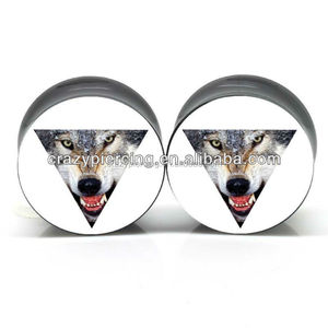 cool unique design wolf pyramid mock black acrylic body jewelry saddle double flared ear piercing gauge plugs