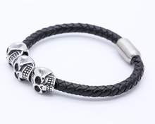 Wholesale Men Jewelry Stainless Steel Leather Magnetic Skull Bracelet For Man