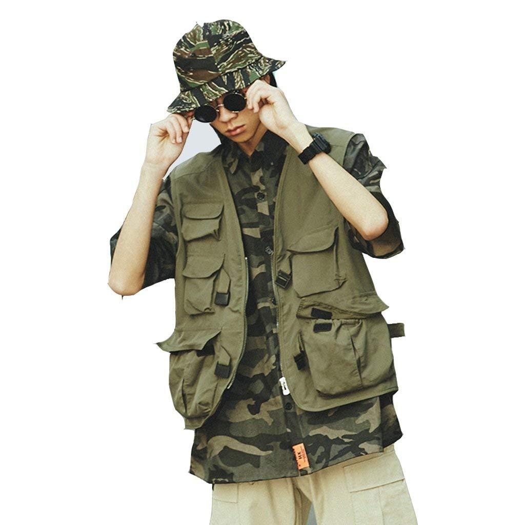Pocket vest Men's Outdoor sports vest Hiking vest Couple vest Tooling vest Photography vest Breathable vest Comfortable (Color : Green, Size : L)