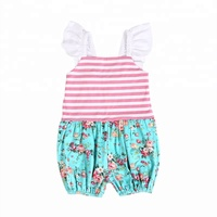 Boutique little girl bubble ruffle sleeve stripe with floral printed toddle romper suit for summer