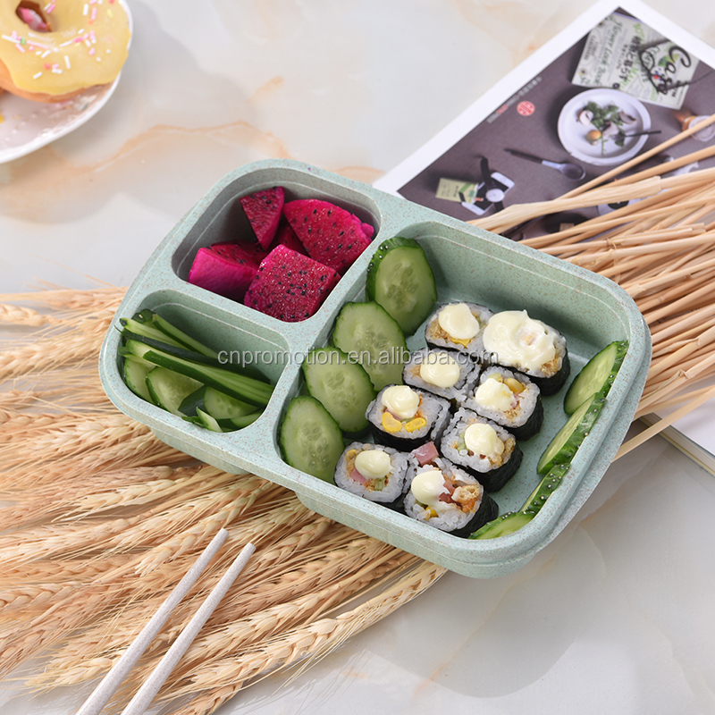 Fashion design wheat straw lunchbox eco-friendly bento lunchbox eco-friendly organic food packaging lunch box