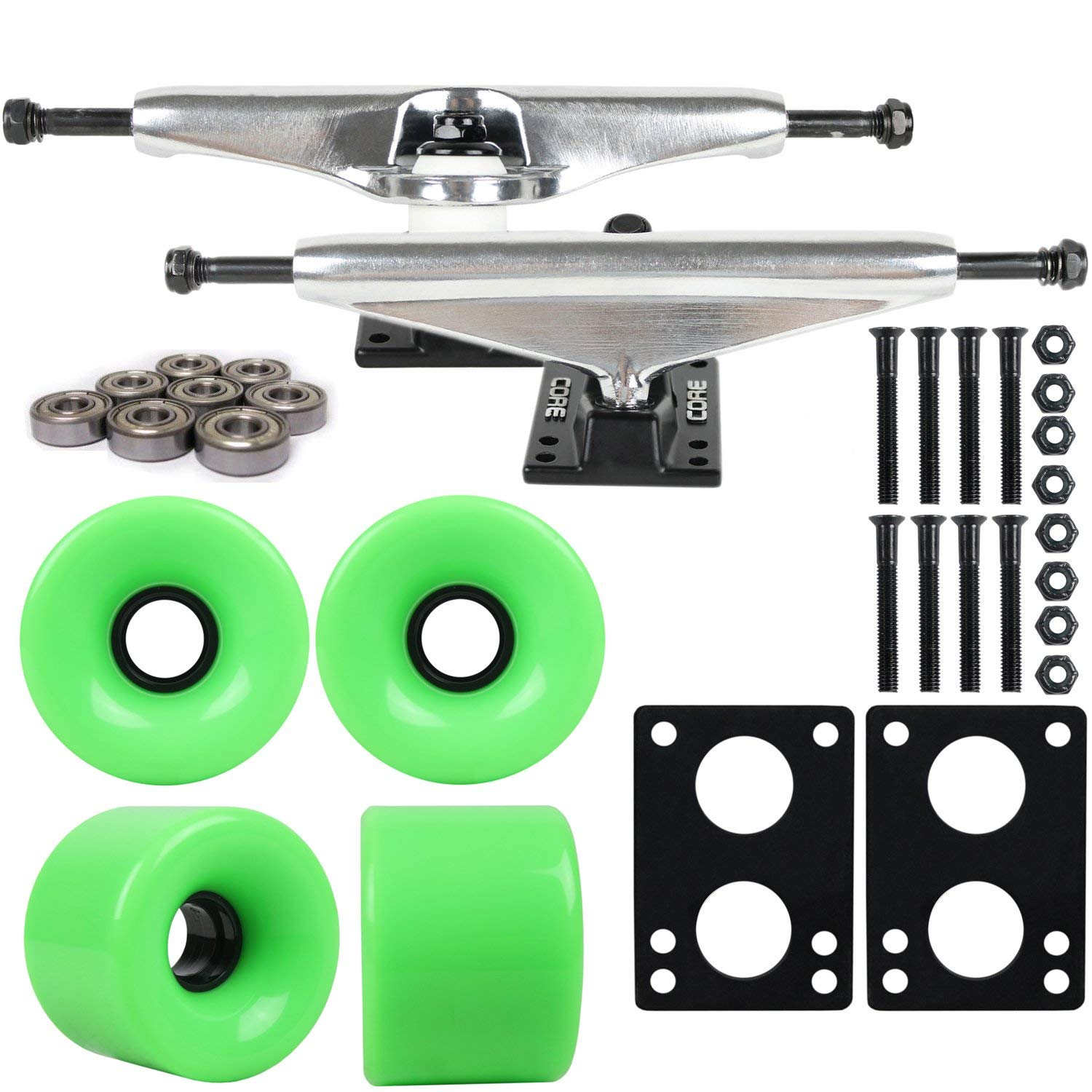 "Longboard Skateboard Trucks Combo Set 76mm Blank Wheels with Silver Trucks, Bearings, and Hardware Package (76mm Green Wheels, 6.0 (9.63"") Silver Trucks)"