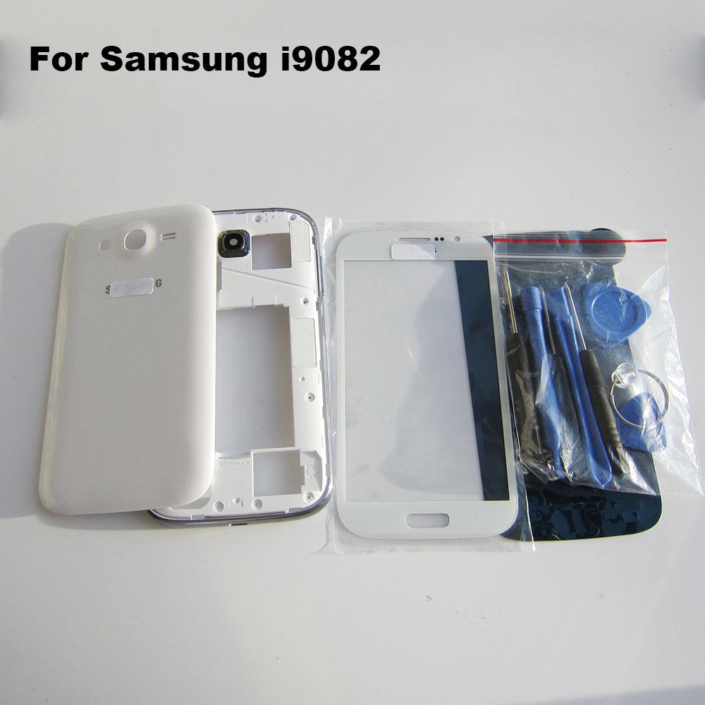 Белый оригинальные запасные части для samsung Galaxy дуэта i9082 жилья полный комплект обложка туши чехол 9082 аксессуары