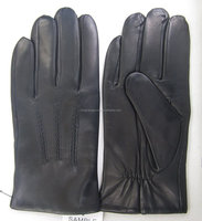Men's Winter Top Quality Lambskin Wool Lined Leather Gloves Black Color