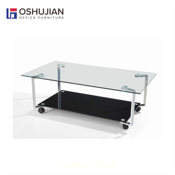 Glass Center Table With Wheels SJ118