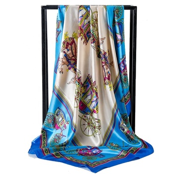 Women's fashion pattern quare satin head wrap silk printed scarf