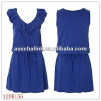 12DR156Summer Hot Seling Latest Design Frill Neck Jersey Blue Dress