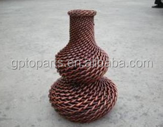 Handmade home decoration bottle shape plastic rattan vase