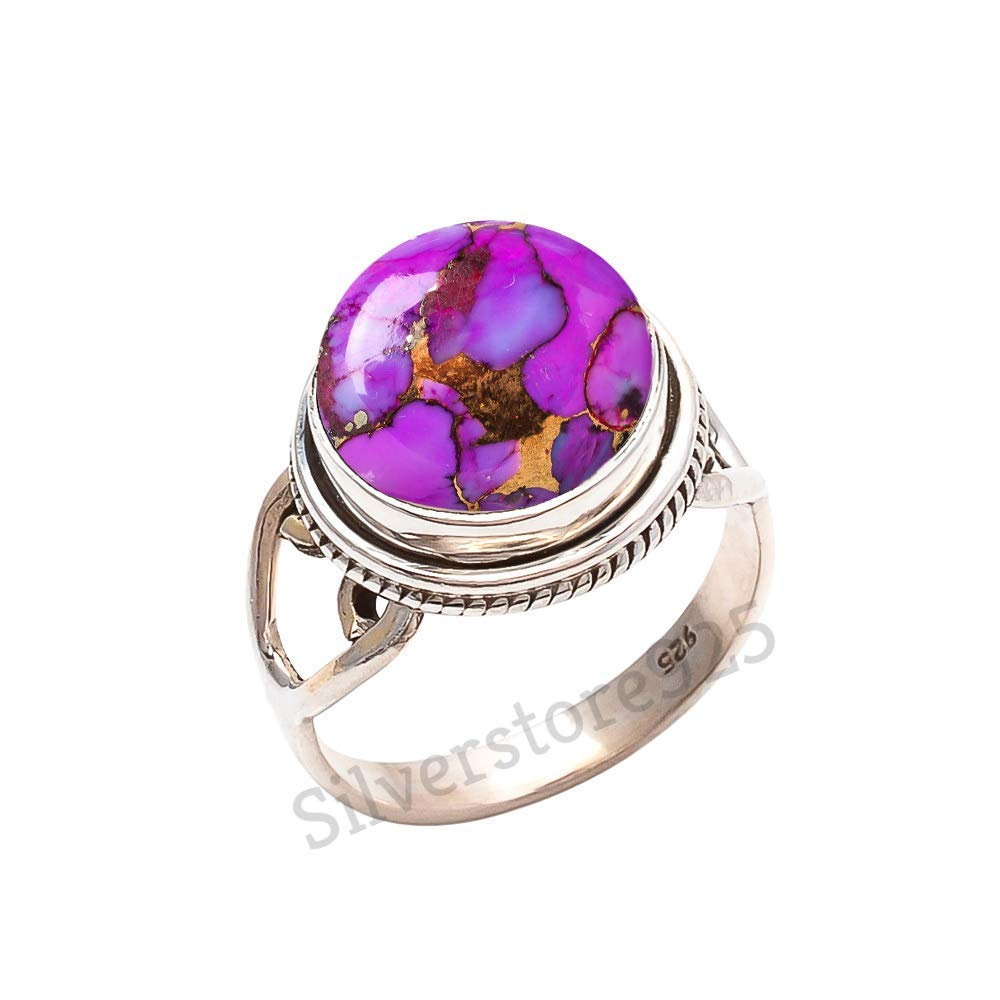 Purple Copper Turquoise Ring 925 Sterling Silver Turquoise Stone Gemstone Ring For Girl Women Gift Ring Size 4 5 6 7 8 9 10 11 12 13 14 15 16