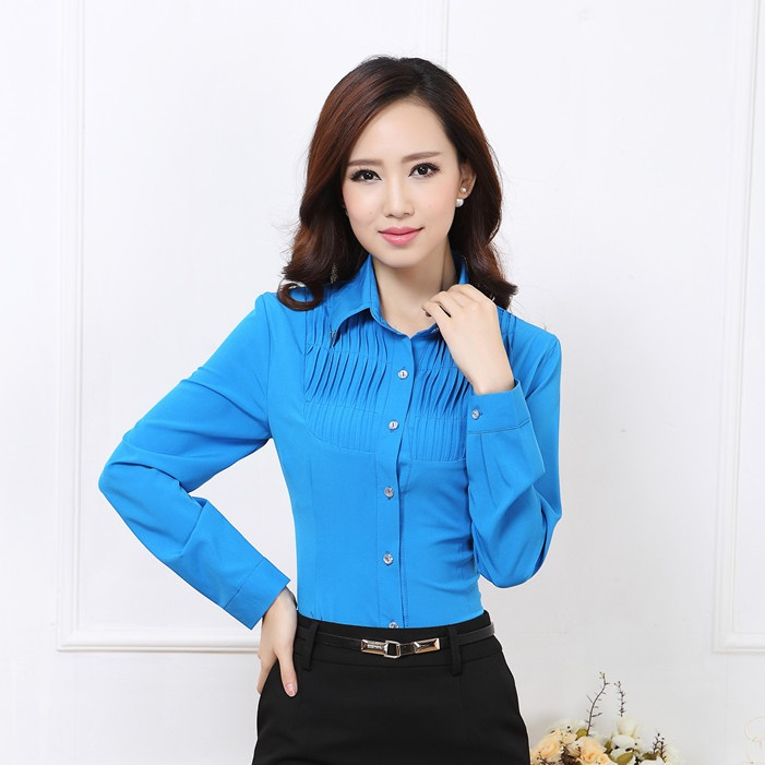 bf031f013e Buy New 2015 Autumn Female Formal Blue Blouse Women Long Sleeve Shirts for  Ladies Office Uniform Blouses XXXL Plus Size in Cheap Price on m.alibaba.com