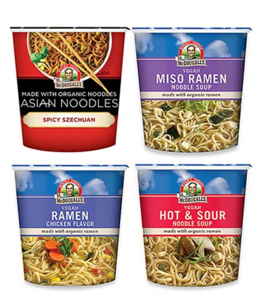 Dr. McDougall's Vegan Asian Noodle Cups 4 Flavor Variety Bundle, 1 Ea: Spicy Szechuan, Miso Ramen, Chicken Ramen, and Hot & Sour, 1.8-2 Oz.