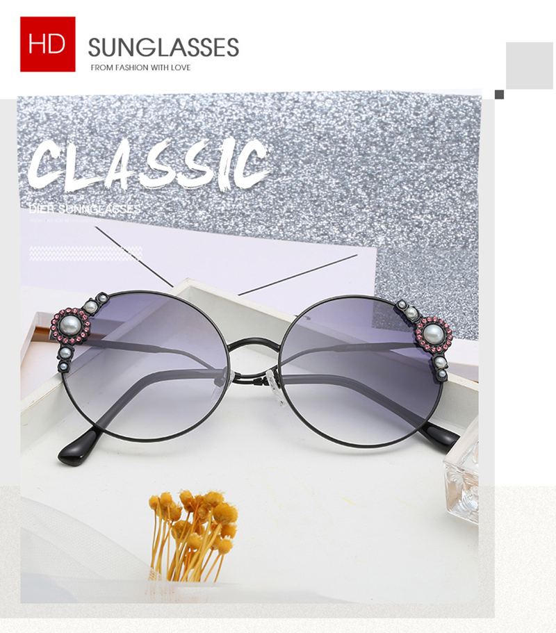 2019 Fashion Oval Metal Frame Pearl Decoration Female Women Sunglasses