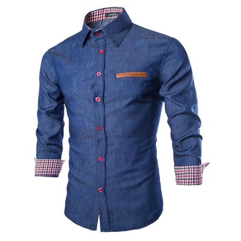 15ee841d5 Get Quotations · 2015 men's boutique autumn slim fit collar denim color  matching long sleeve jeans shirts/Male