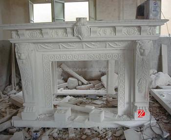 Camino Bianco In Pietra : Bianco testa di leone coperta mensola del camino in pietra con