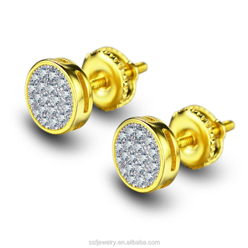 18k Gold Plated Mens Hip Hop Round Diamond Iced Out Micro Pave Earrings