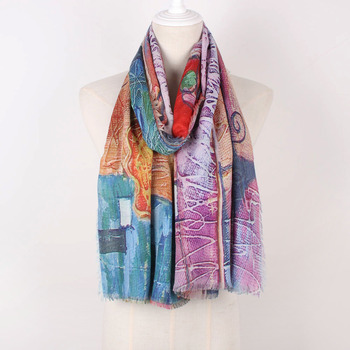 Print your own design High Quality 80% Viscose 20% Cotton Soft Handfeeling Digital Print Scarf Custom Scarf