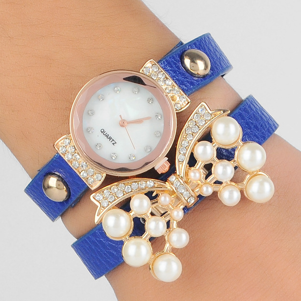 Promotion Pearl Rhinestone Butterfly Bracelets Fashion Women Casual Wrist Watches