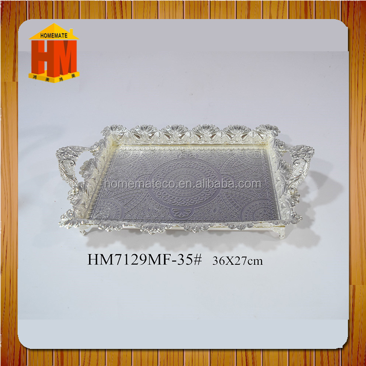 China manufacturer silver plated food metal serving tray with handle