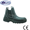 NMSAFETY black pu injection cow split emboss canberra lining middle cut men's hot sale work safety boots