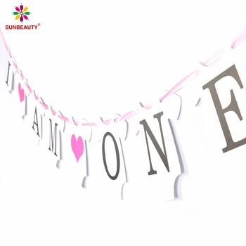 Wholesale Baby Girl 1st Birthday Banner I AM ONE Hanging Kids Party Decorations